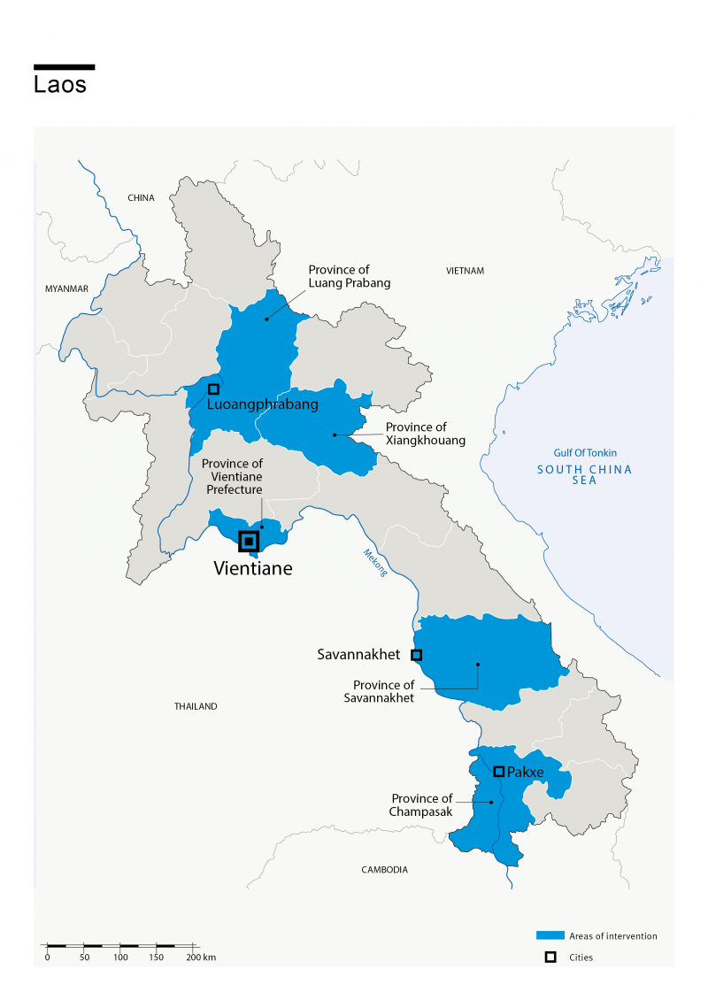 Carte des interventions de HI au Laos