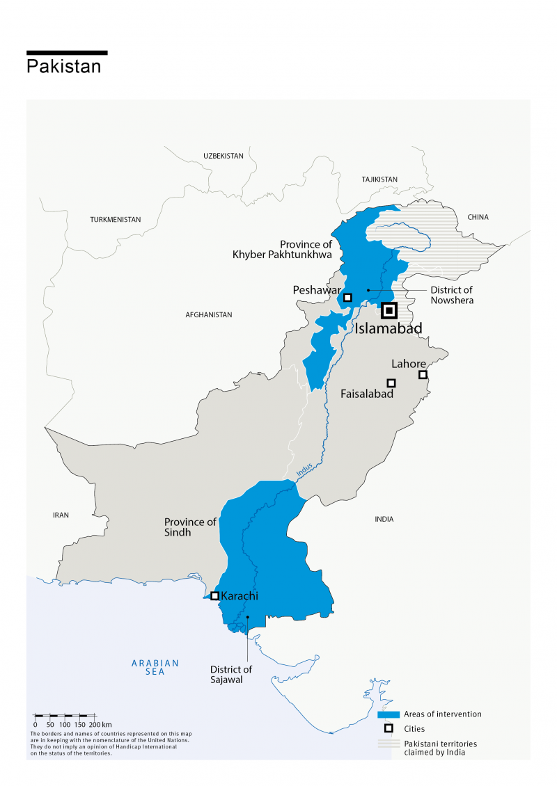 Carte des interventions de HI au Pakistan