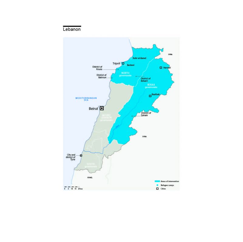 Carte des interventions de HI au Liban